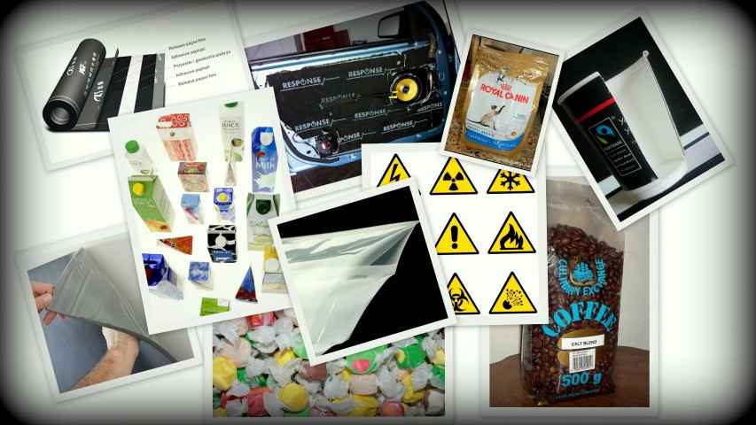 Labels, Packaging Films, Automotive dashboards foam tapes, food packaging, paper cups